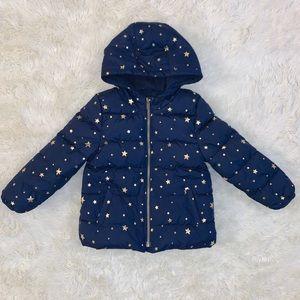 Girls 5T navy/gold puffer jacket EUC